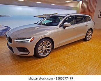 ROCKLEIGH, NEW JERSEY - SEPTEMBER 5, 2018: The newly introduced 2019 Volvo V60. This is Volvo's smallest and newest station wagon. This long-roof is on display for potential customers to view.