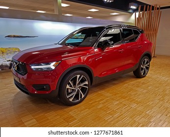 ROCKLEIGH, NEW JERSEY/USA - JUNE 7, 2018: The newly introduced Volvo XC40 T5 R-Design. This is Volvo's smallest and newest SUV. There are 3 trim levels, Momentum, R-Design, and the Inscription.