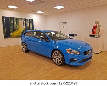 ROCKLEIGH, NEW JERSEY/USA - MAY 3, 2018: One of Volvo's iconic Polestar edition cars. This particular car is a Rebel Blue V60 with 362-hp turbo & supercharged 2.0 liter inline-four and an eight-speed.