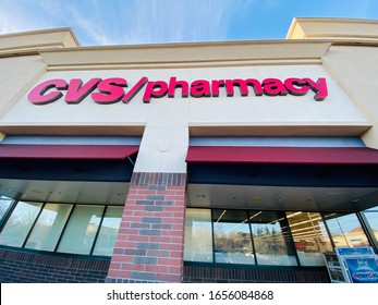 Rocklin, CA - February 25, 2020: CVS Pharmacy signage on building exterior at entrance, wide angle view.