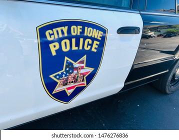 Rocklin, CA - July 28, 2019: City of Ione Police Car logo closeup.