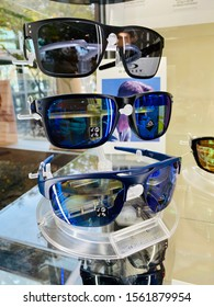 Rocklin, CA - November 16, 2019: Modern cool Oakley brand sunglasses with prescription lenses, displayed at optometrists' office.