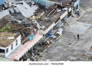 Rockport, Texas - August 28, 2017: An aerial view of damage caused by Hurricane Harvey