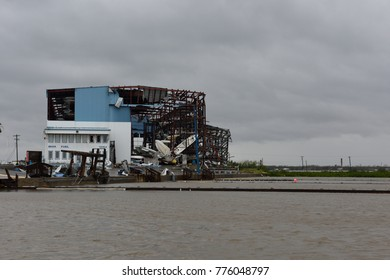 Rockport, Texas / USA - August 26 2017: Hurricane Harvey major wind damage and destruction to steel metal boat storage building.