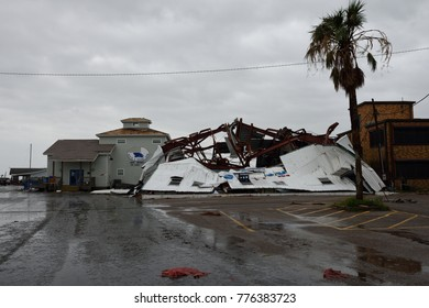 Rockport Texas / USA - August 26, 2017:  Hurricane Harvey major wind damage and destruction to collapsed steel framed building.