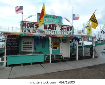 Rockport, Texas / USA - June 26 2017: Boat harbor fishing bait shop and seafood market.
