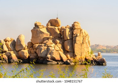 Rocks of the Agilkia Island in Lake Nasser, a part of the UNESCO Nubia Campaign