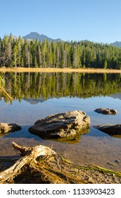 Rocks along the shore line of trees and mountains reflecting in Bierstadt Lake