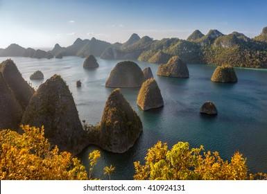 Rocks around the island Vayag (archipelago of Raja Ampat). Indonesia