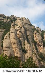Rocks around Montserrat monastery in Spain