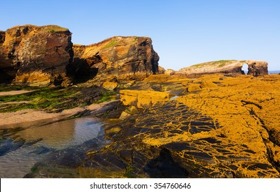 Rocks at  Atlantic Ocean coast of Spain. Galicia,  Cantabric coast. Spain