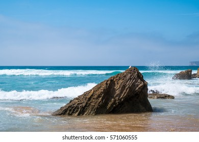 Rocks in the atlantic ocean in Portugal during summer