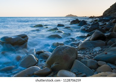 rocks awash near Punta Ala in the southern area of Tuscany, Italy