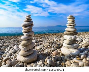 rocks balance on beach