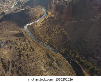 Rocks in a beautiful, beautiful canyon, desert river, Smith Rock State Park, Oregon, top view