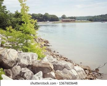Rocks Beside Lake at Thousand Hills State Park Kirksville Missouri