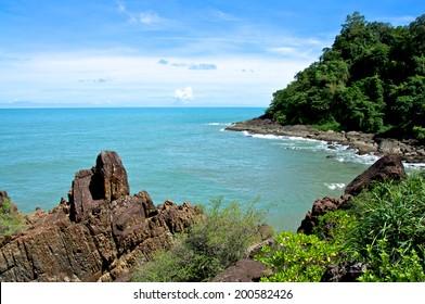 Rocks by the Blue Ocean