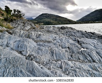 Rocks by Patagonian lake