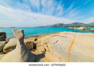 Rocks by the sea in Spiaggia del Riso in Villasimius. Sardinia, italy