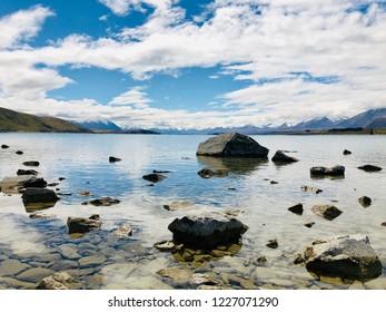 Rocks by the shore of Lake Tekapo
