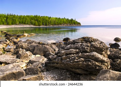 Rocks in clear water of Georgian Bay at Bruce peninsula Ontario Canada