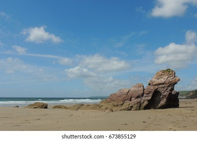 Rocks and cliffs at Tregantle beach and Whitsand Bay in Cornwall