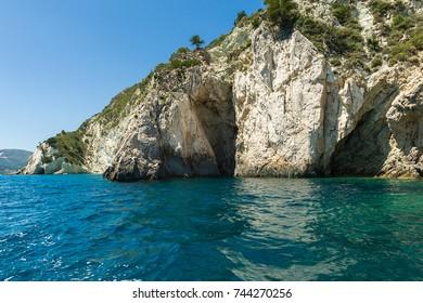 Rocks and cliffs of the Zakynthos Island coastline.