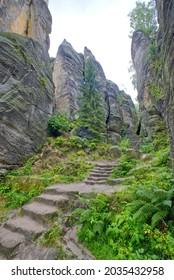 Rocks for climbing Hruba Skala in Czechia