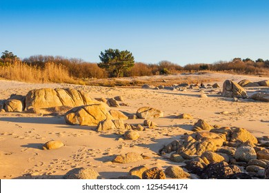 Rocks and dunes of Castineira beach in O Grove town