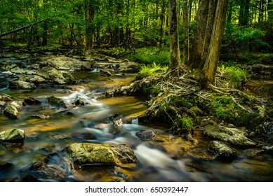 Rocks and the flowing waters of Eno River captured during summer. This is one of the best parks in Durham, North Carolina for nature hikes and camping, just few miles from Duke University.