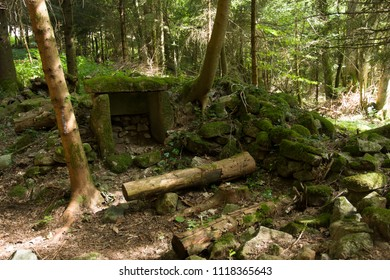 Rocks in the forest of Berchigranges in Normandy France