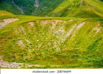 Rocks in grass and nature of the beautifull green mountains