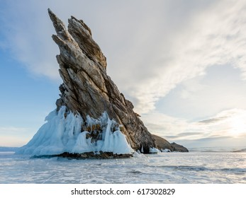 Rocks in ice on the southern tip of Ogoy Island, Small Sea, Lake Baikal, Russia