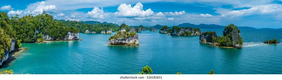 Rocks Landscape in Kabui Bay near Waigeo. West Papuan, Raja Ampat, Indonesia.Banner