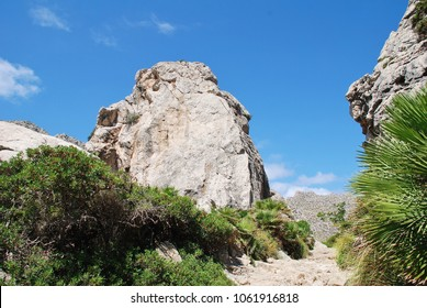 Rocks line the trail through the Boquer valley in the Serra de Tramuntana mountains on the Spanish island of Majorca. Starting at Puerto Pollensa, the 3.5km trail ends at the beach of Cala Boquer.