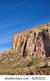 Rocks of the Mavra Ori mountain in Kalogria in Greece