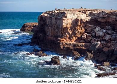 Rocks at Mediterranean Sea, Torrevieja beach. Province of Alicante, Costa Blanca, Spain