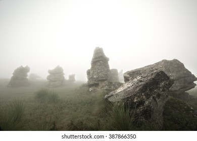 Rocks and Mist II. Rocky forms take on a mystical and soft atmosphere by the fog that envelops them. Valle de las Piedras Encimadas, México.