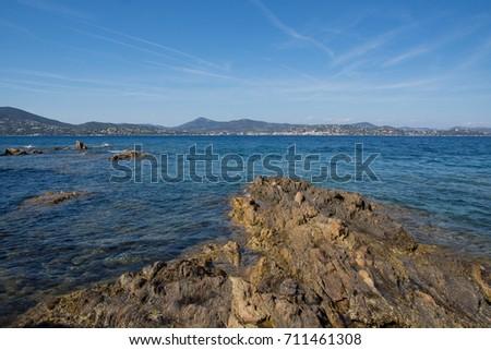 Rocks Mountains On Beach Saint Tropez France Stock Photo Edit Now