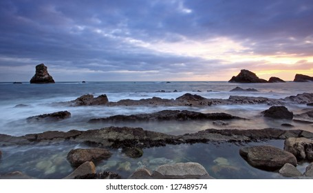 Rocks at Mupe Bay at sunset, Dorset