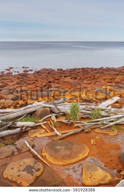 Rocks near the spring with iron-containing water on the beach