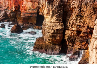 Rocks and ocean. Amazing Portugal view at Boca do Inferno, Hell's Mouth – Cascais