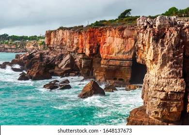 Rocks and ocean. Amazing view at Boca do Inferno, Hell's Mouth – Cascais, Portugal