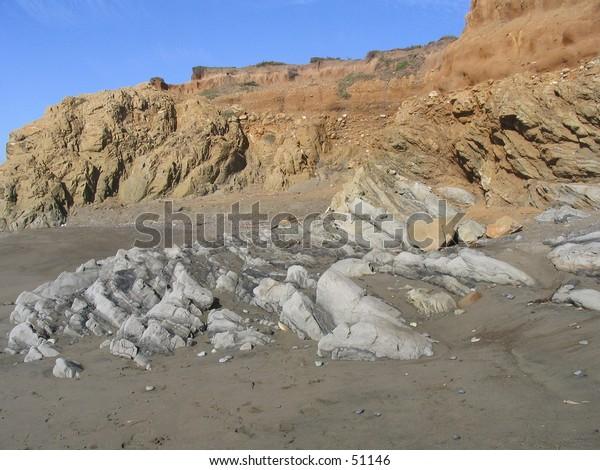 Rocks on beach.