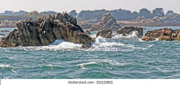 Rocks on a beach along a sea in summer