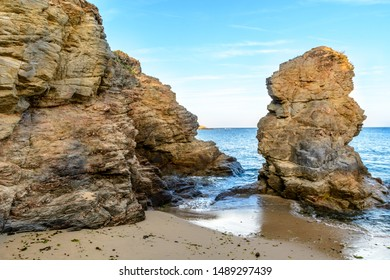 Rocks on the beach of Prefailles, Loire Atlantique, France