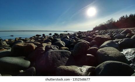 Rocks on the Beach - Winter Morning, Narragansett Bay, Rhode Island