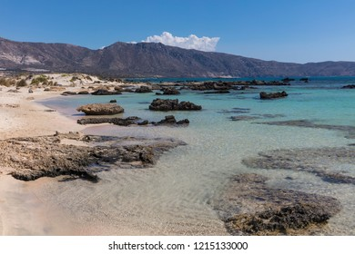 Rocks on Elafonisi beach on the south-west coast of Crete, Greece