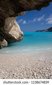 Rocks on the Greek beach of Myrthos on Kefalonia island