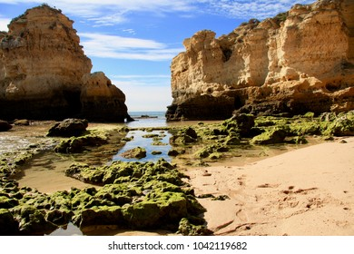 Rocks on Praia de São Rafael beach , Algarve, Portugal. Lime-gold cliff, green stones with algae on low tide. Beautiful and colorful picture.